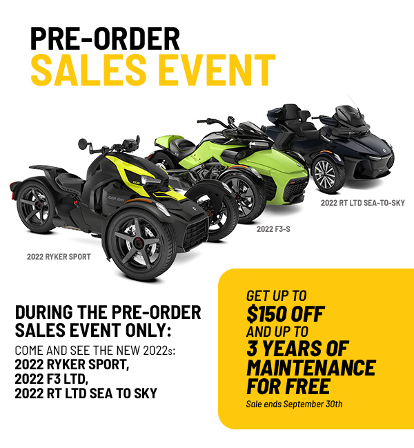 Pre-Order Sales Event – On-Road Offers
